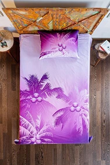 home-bath Tek Kişilik Nevresim Seti Violet Shadows Renkli